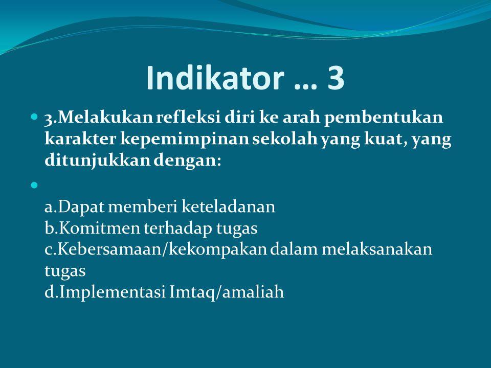Indikator … 3 3.Melakukan refleksi diri ke arah pembentukan karakter kepemimpinan sekolah yang kuat, yang ditunjukkan dengan: