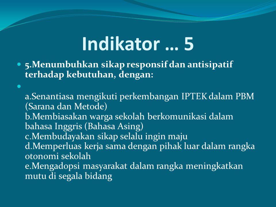 Indikator … 5 5.Menumbuhkan sikap responsif dan antisipatif terhadap kebutuhan, dengan: