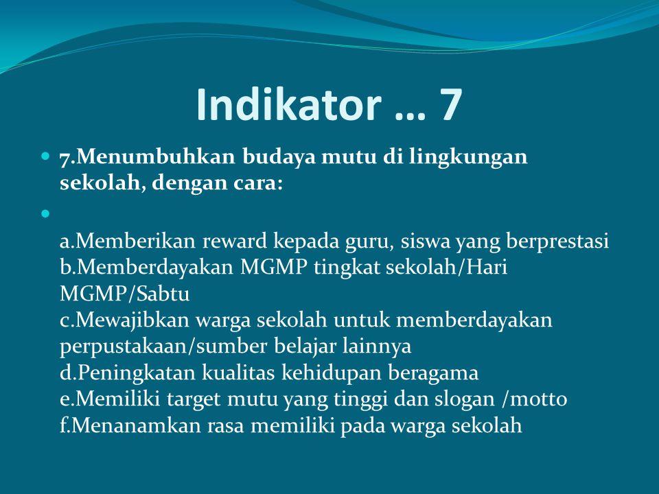 Indikator … 7 7.Menumbuhkan budaya mutu di lingkungan sekolah, dengan cara: