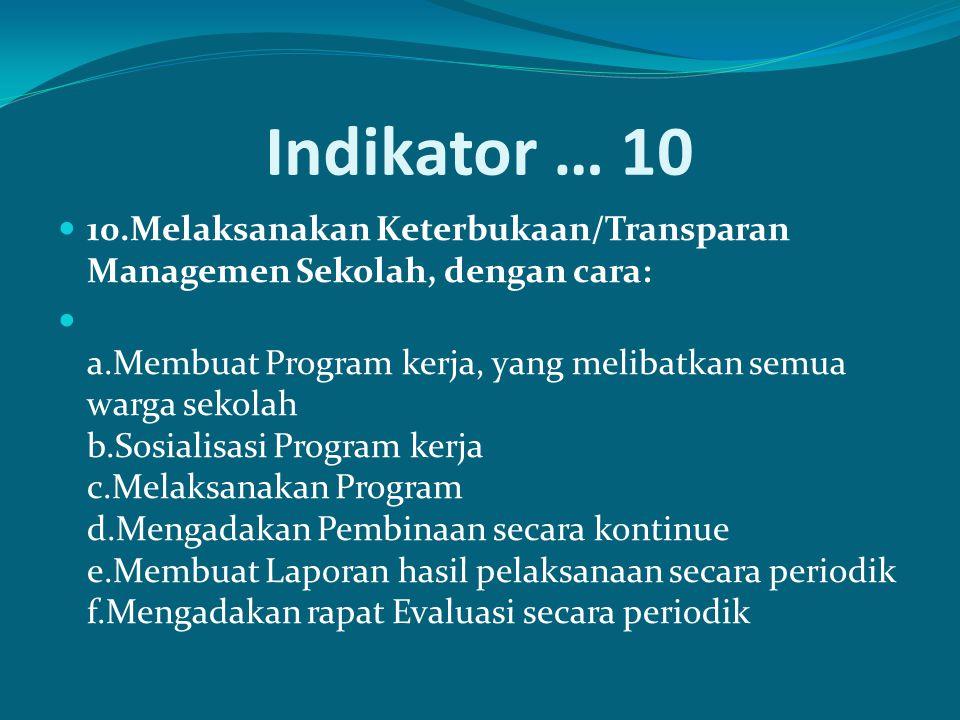 Indikator … 10 10.Melaksanakan Keterbukaan/Transparan Managemen Sekolah, dengan cara: