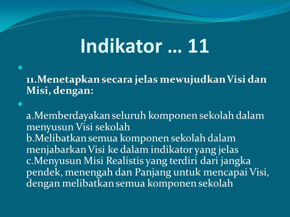 Indikator … 11 11.Menetapkan secara jelas mewujudkan Visi dan Misi, dengan: