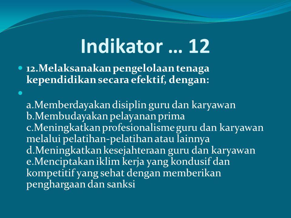 Indikator … 12 12.Melaksanakan pengelolaan tenaga kependidikan secara efektif, dengan: