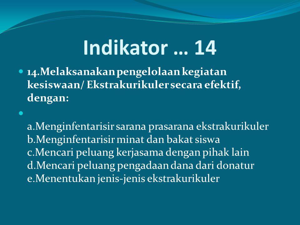 Indikator … 14 14.Melaksanakan pengelolaan kegiatan kesiswaan/ Ekstrakurikuler secara efektif, dengan:
