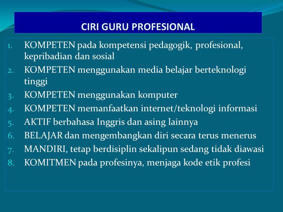 CIRI GURU PROFESIONAL KOMPETEN pada kompetensi pedagogik, profesional, kepribadian dan sosial.