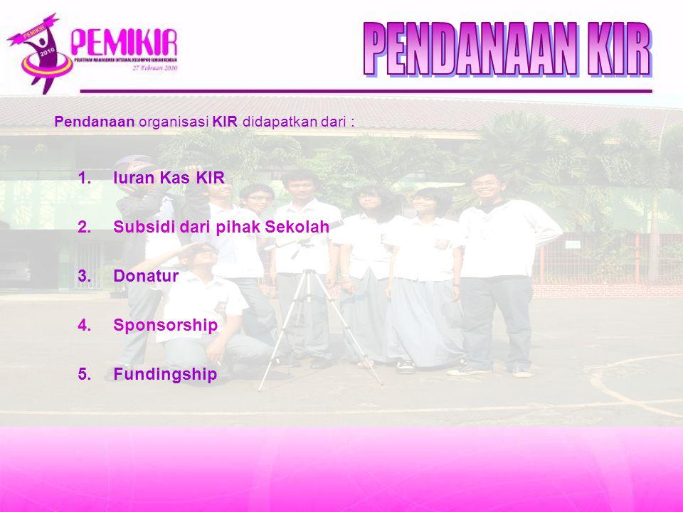 PENDANAAN KIR Iuran Kas KIR Subsidi dari pihak Sekolah Donatur