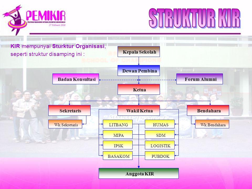 STRUKTUR KIR KIR mempunyai Sturktur Organisasi,