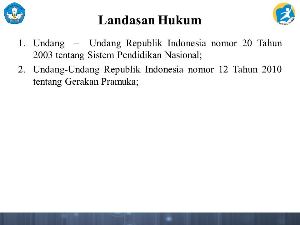 Landasan Hukum Undang – Undang Republik Indonesia nomor 20 Tahun 2003 tentang Sistem Pendidikan Nasional;