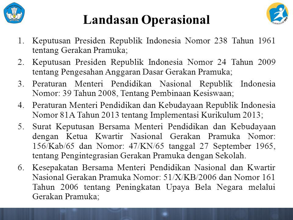 Landasan Operasional Keputusan Presiden Republik Indonesia Nomor 238 Tahun 1961 tentang Gerakan Pramuka;