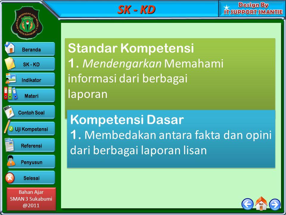 SK - KD Standar Kompetensi. 1. Mendengarkan Memahami informasi dari berbagai laporan.
