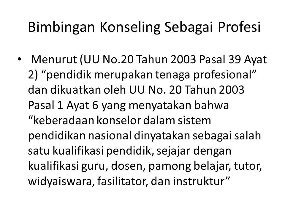 Bimbingan Konseling Sebagai Profesi