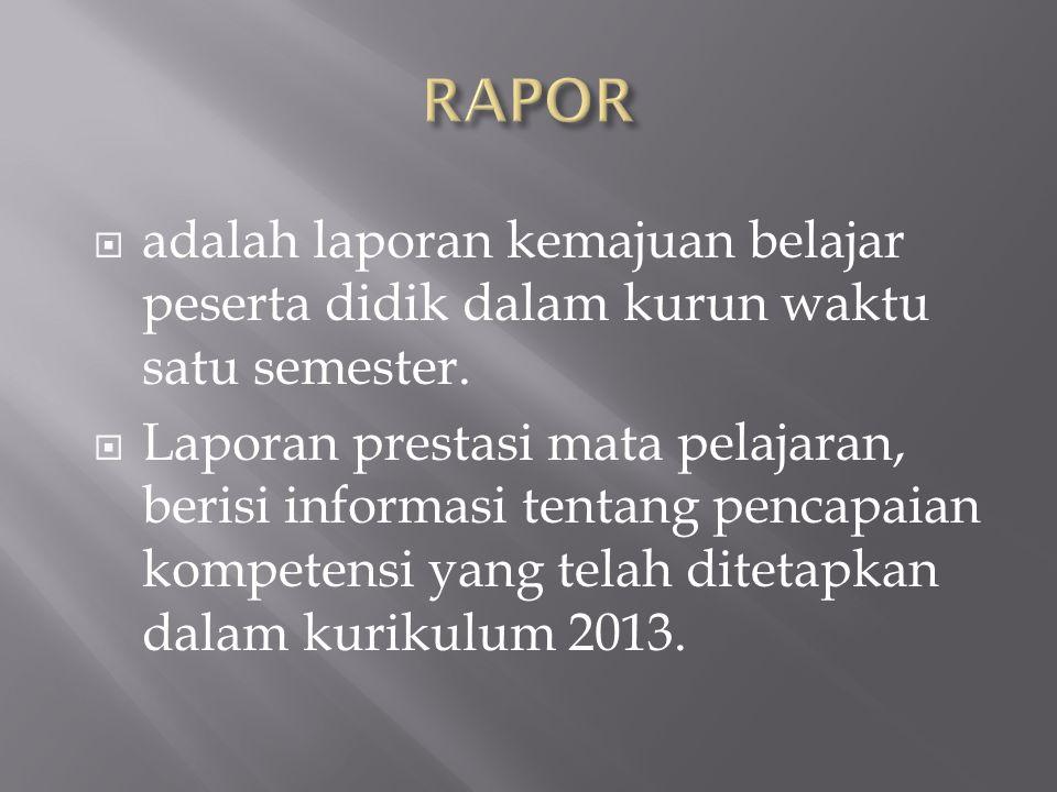 RAPOR adalah laporan kemajuan belajar peserta didik dalam kurun waktu satu semester.