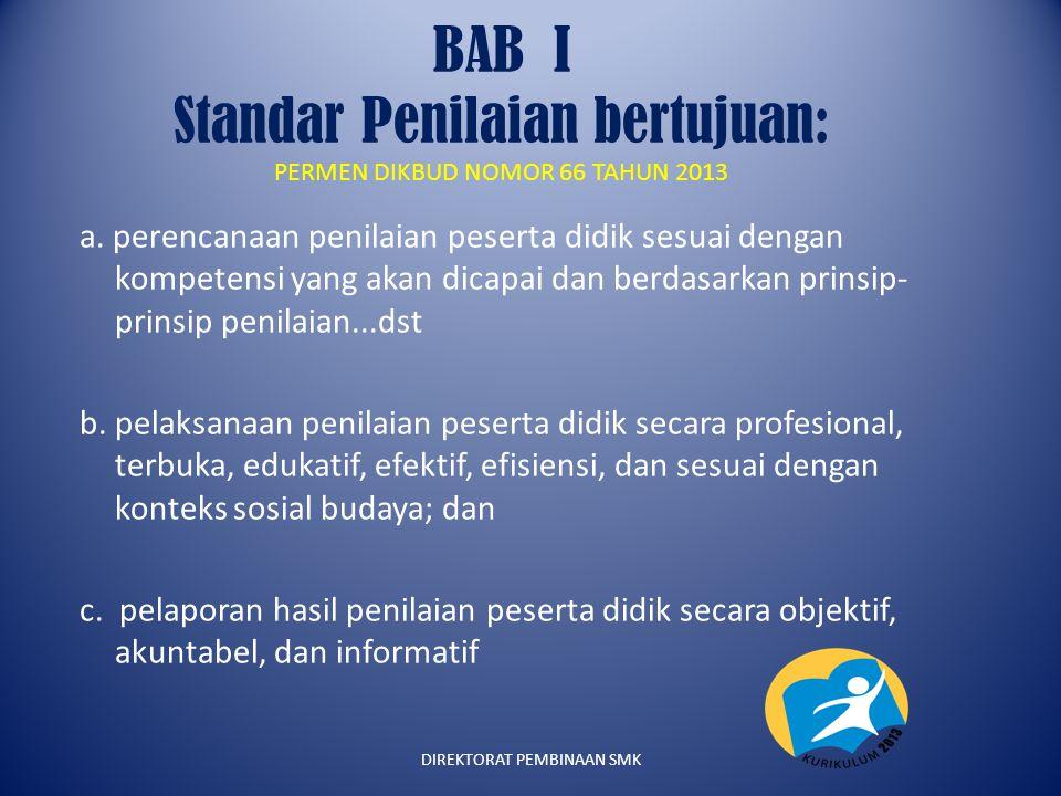 BAB I Standar Penilaian bertujuan: PERMEN DIKBUD NOMOR 66 TAHUN 2013