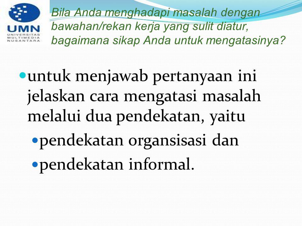 pendekatan organsisasi dan pendekatan informal.