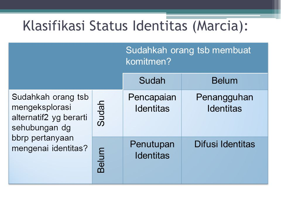 Klasifikasi Status Identitas (Marcia):