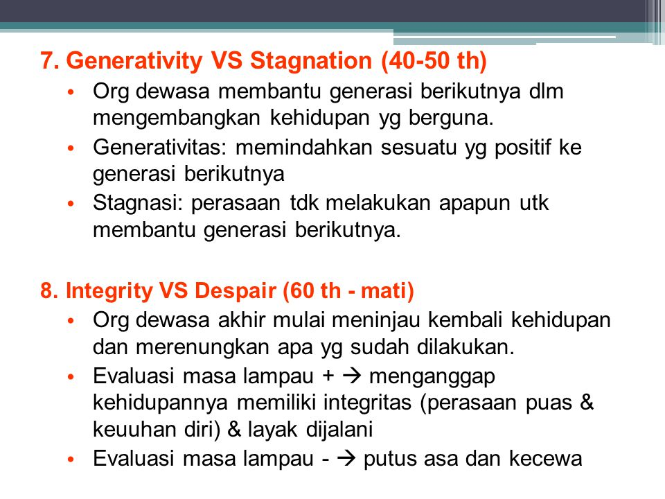 Generativity VS Stagnation (40-50 th)