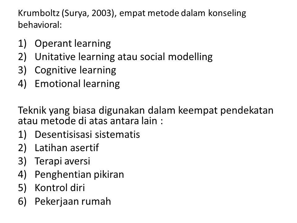 Krumboltz (Surya, 2003), empat metode dalam konseling behavioral: