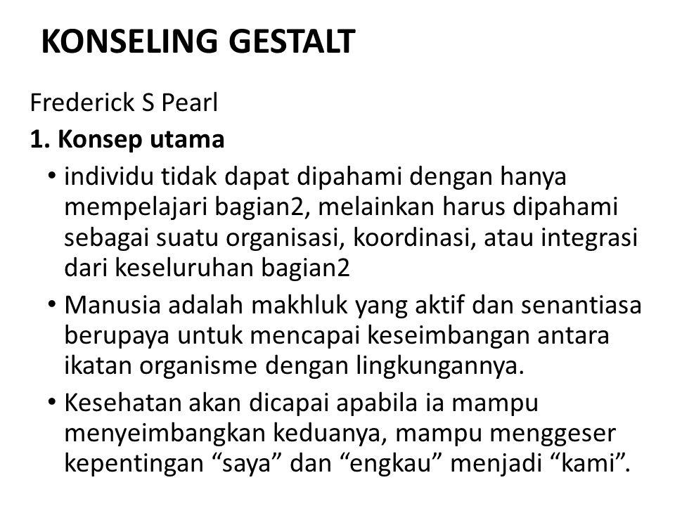 KONSELING GESTALT Frederick S Pearl 1. Konsep utama