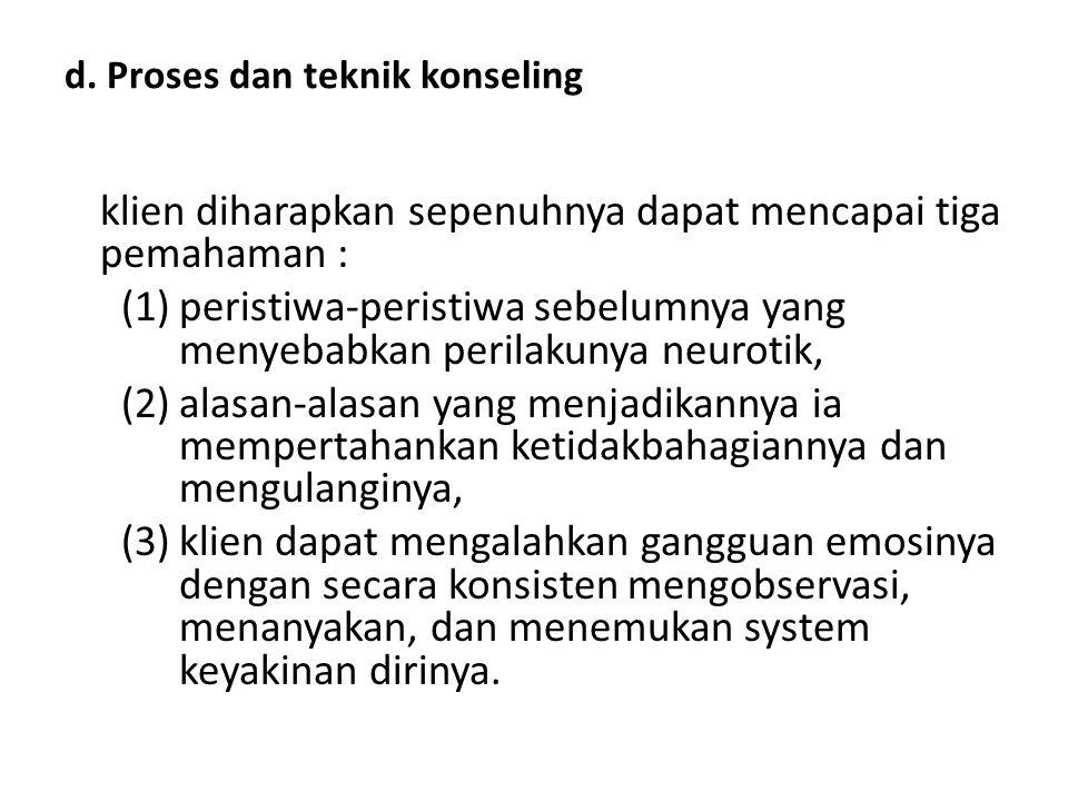 d. Proses dan teknik konseling