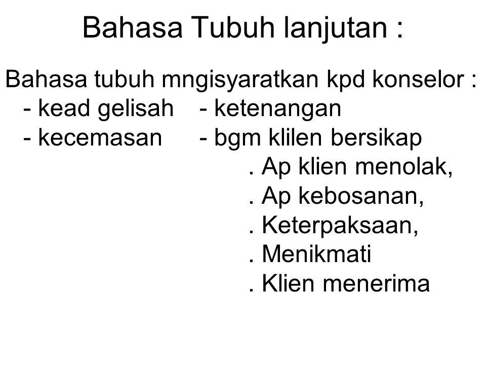 Bahasa Tubuh lanjutan :