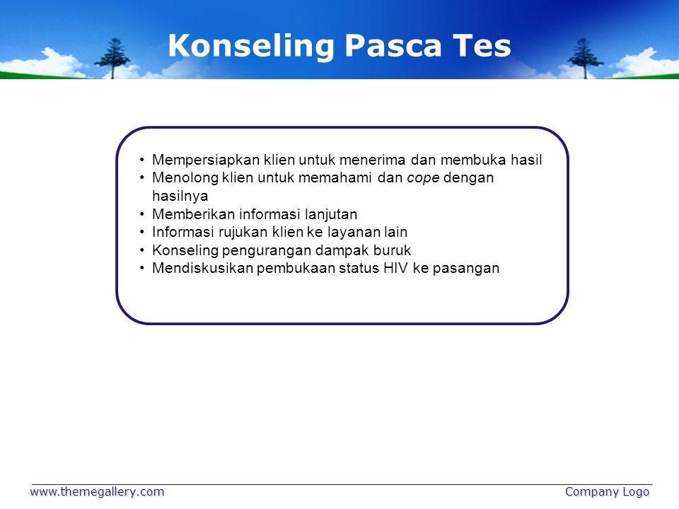 Konseling Pasca Tes Mempersiapkan klien untuk menerima dan membuka hasil. Menolong klien untuk memahami dan cope dengan hasilnya.