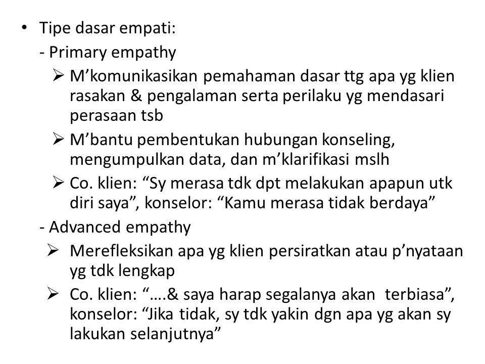 Tipe dasar empati: Primary empathy. M'komunikasikan pemahaman dasar ttg apa yg klien rasakan & pengalaman serta perilaku yg mendasari perasaan tsb.