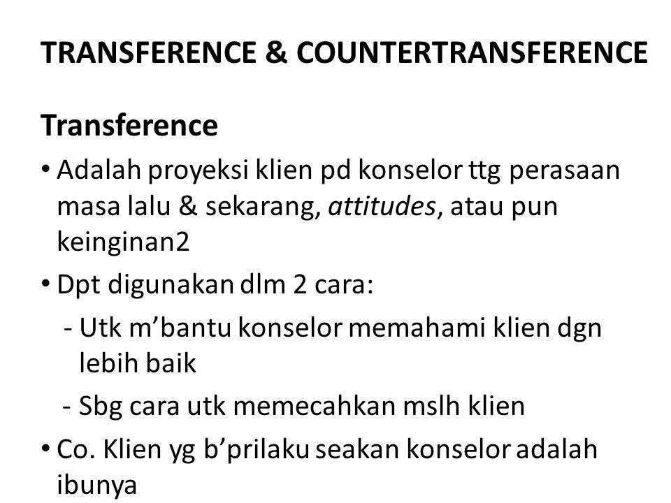 TRANSFERENCE & COUNTERTRANSFERENCE Transference