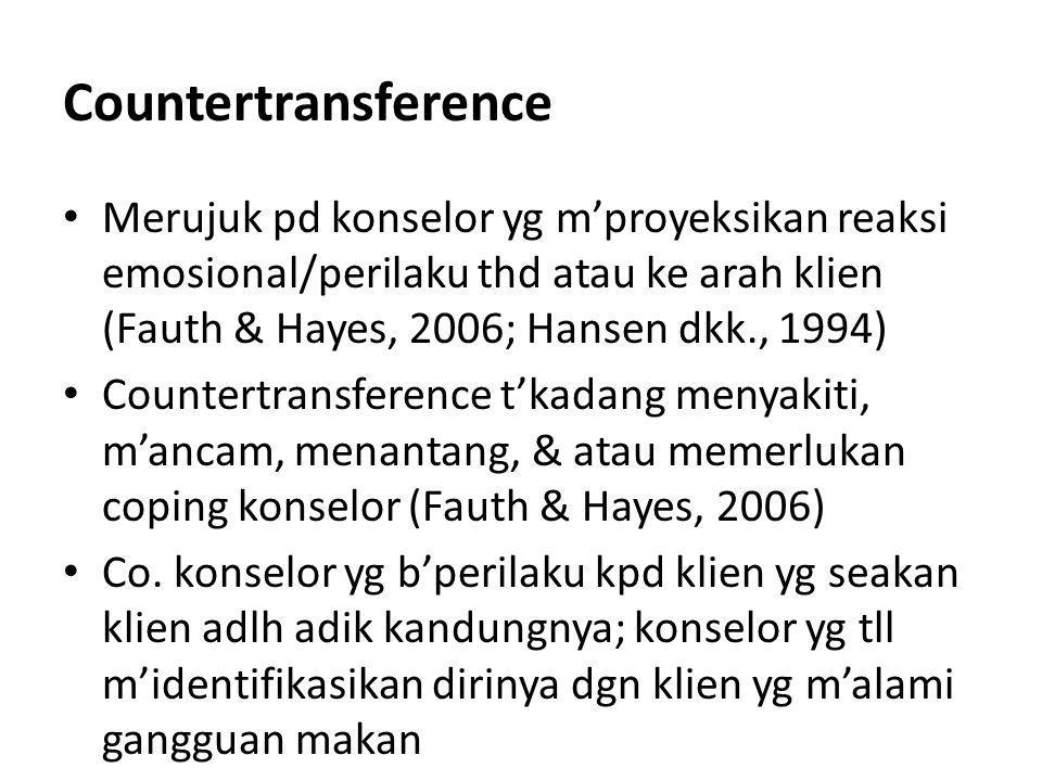 Countertransference Merujuk pd konselor yg m'proyeksikan reaksi emosional/perilaku thd atau ke arah klien (Fauth & Hayes, 2006; Hansen dkk., 1994)