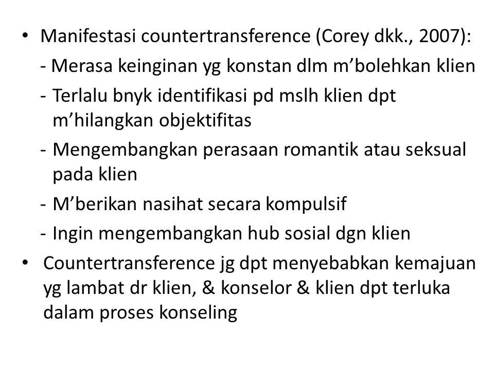 Manifestasi countertransference (Corey dkk., 2007):