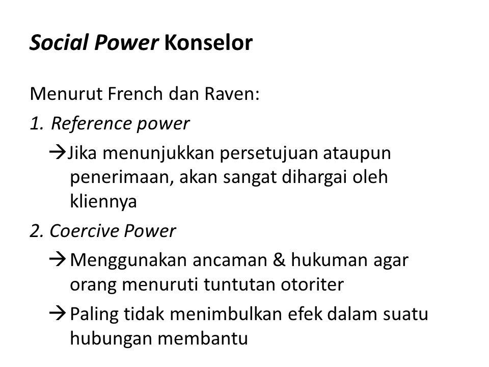 Social Power Konselor Menurut French dan Raven: Reference power