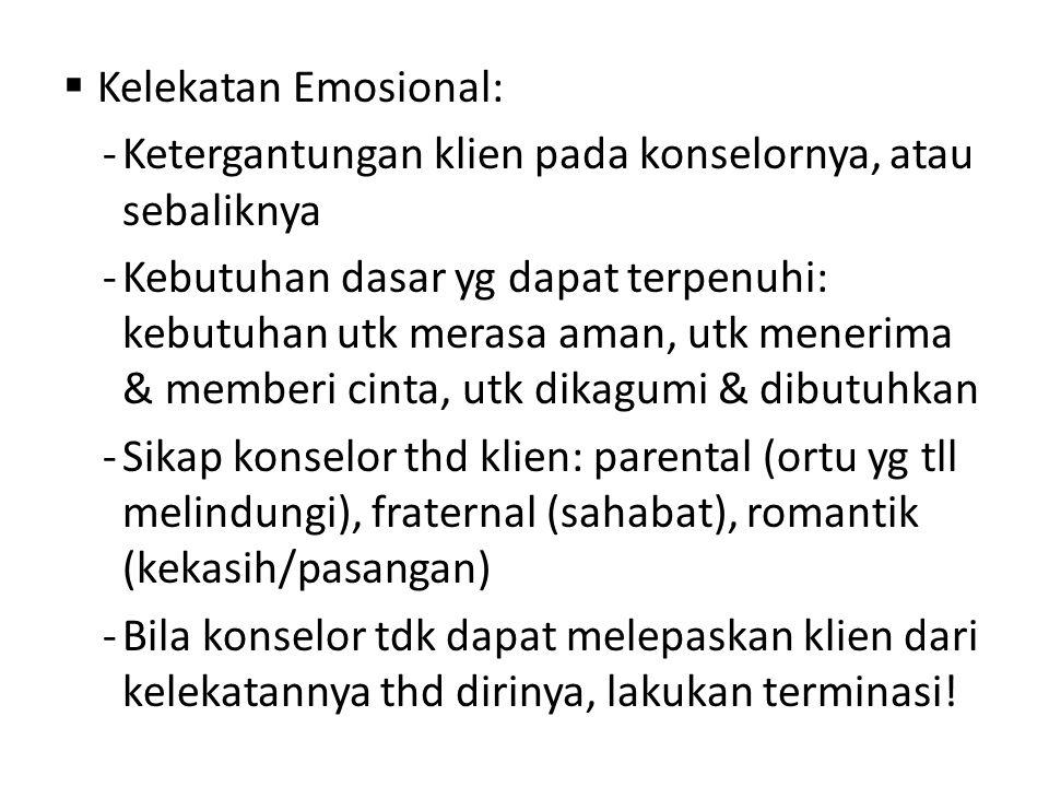 Kelekatan Emosional: Ketergantungan klien pada konselornya, atau sebaliknya.