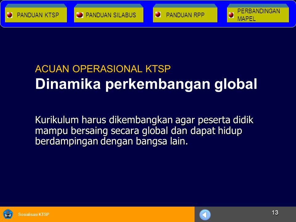ACUAN OPERASIONAL KTSP Dinamika perkembangan global