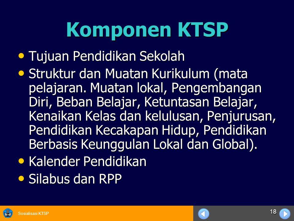 Komponen KTSP Tujuan Pendidikan Sekolah