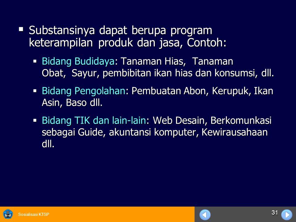 Substansinya dapat berupa program keterampilan produk dan jasa, Contoh: