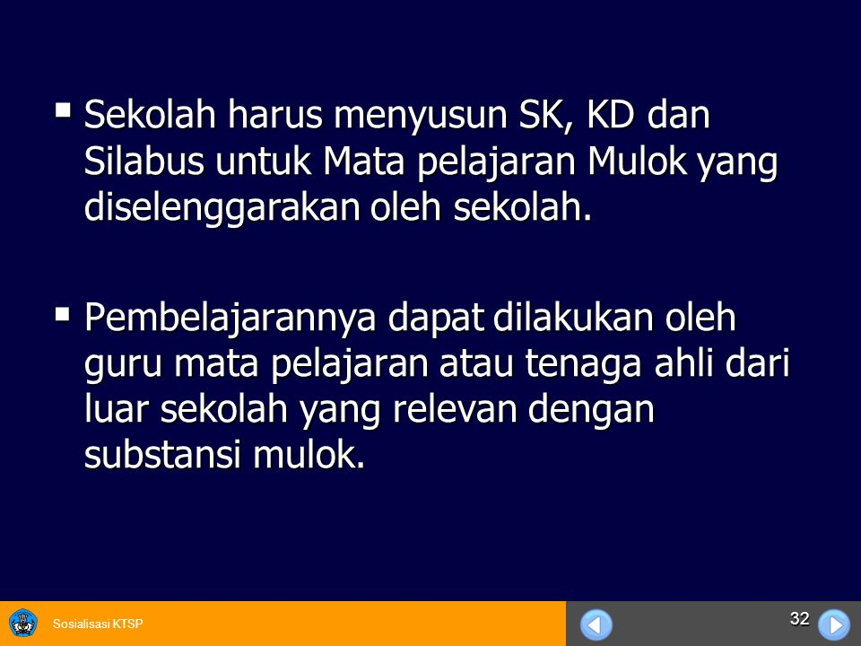Sekolah harus menyusun SK, KD dan Silabus untuk Mata pelajaran Mulok yang diselenggarakan oleh sekolah.