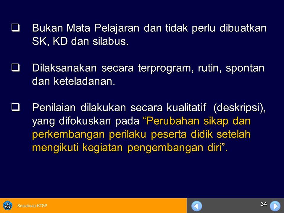 Bukan Mata Pelajaran dan tidak perlu dibuatkan SK, KD dan silabus.