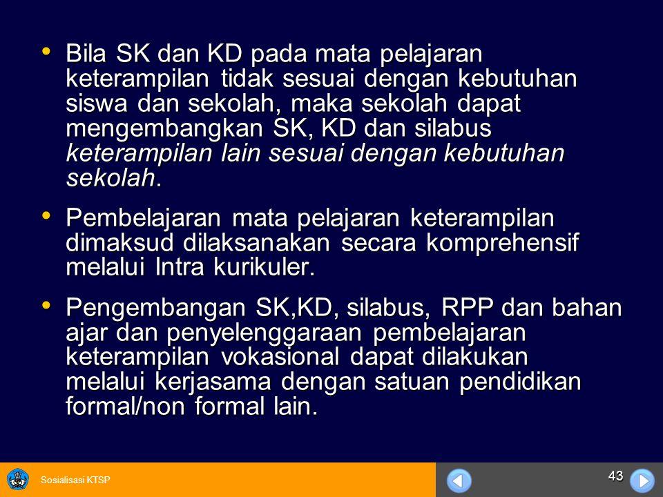 Bila SK dan KD pada mata pelajaran keterampilan tidak sesuai dengan kebutuhan siswa dan sekolah, maka sekolah dapat mengembangkan SK, KD dan silabus keterampilan lain sesuai dengan kebutuhan sekolah.