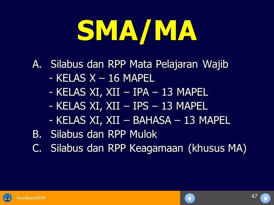 SMA/MA Silabus dan RPP Mata Pelajaran Wajib - KELAS X – 16 MAPEL