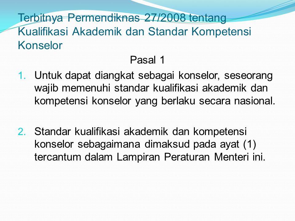 Terbitnya Permendiknas 27/2008 tentang Kualifikasi Akademik dan Standar Kompetensi Konselor