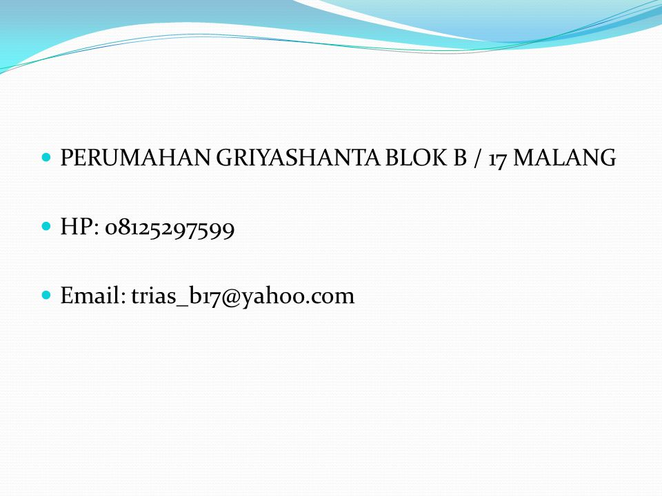 PERUMAHAN GRIYASHANTA BLOK B / 17 MALANG