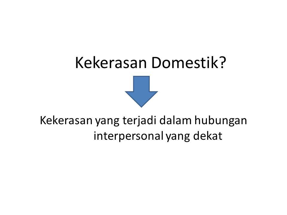 Kekerasan Domestik Kekerasan yang terjadi dalam hubungan interpersonal yang dekat