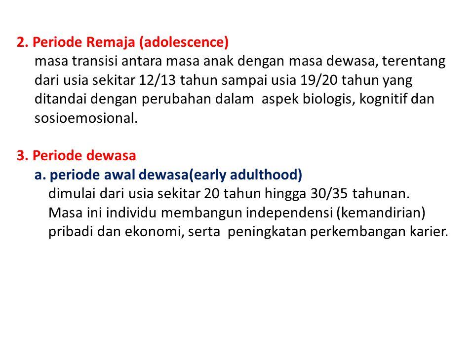 2. Periode Remaja (adolescence)