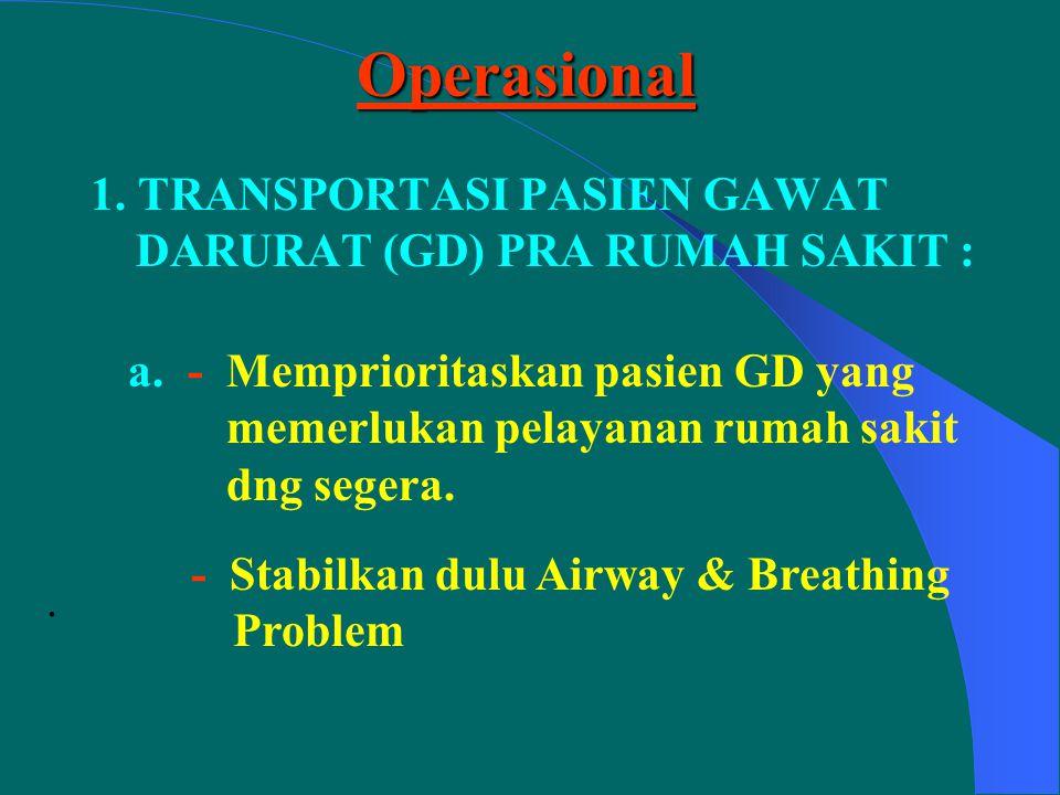 Operasional 1. TRANSPORTASI PASIEN GAWAT DARURAT (GD) PRA RUMAH SAKIT :