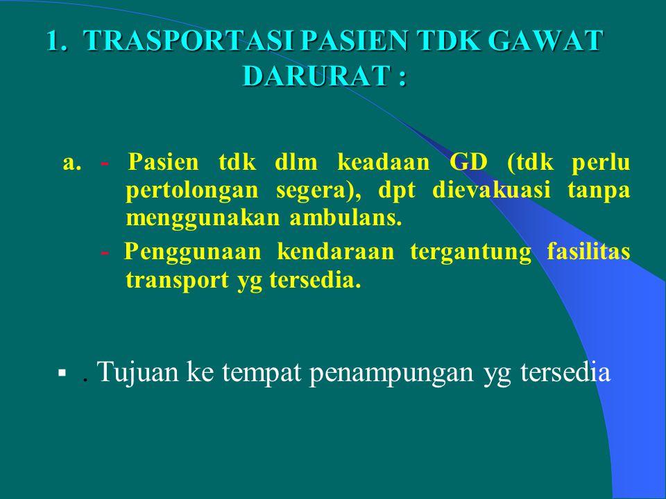 1. TRASPORTASI PASIEN TDK GAWAT DARURAT :