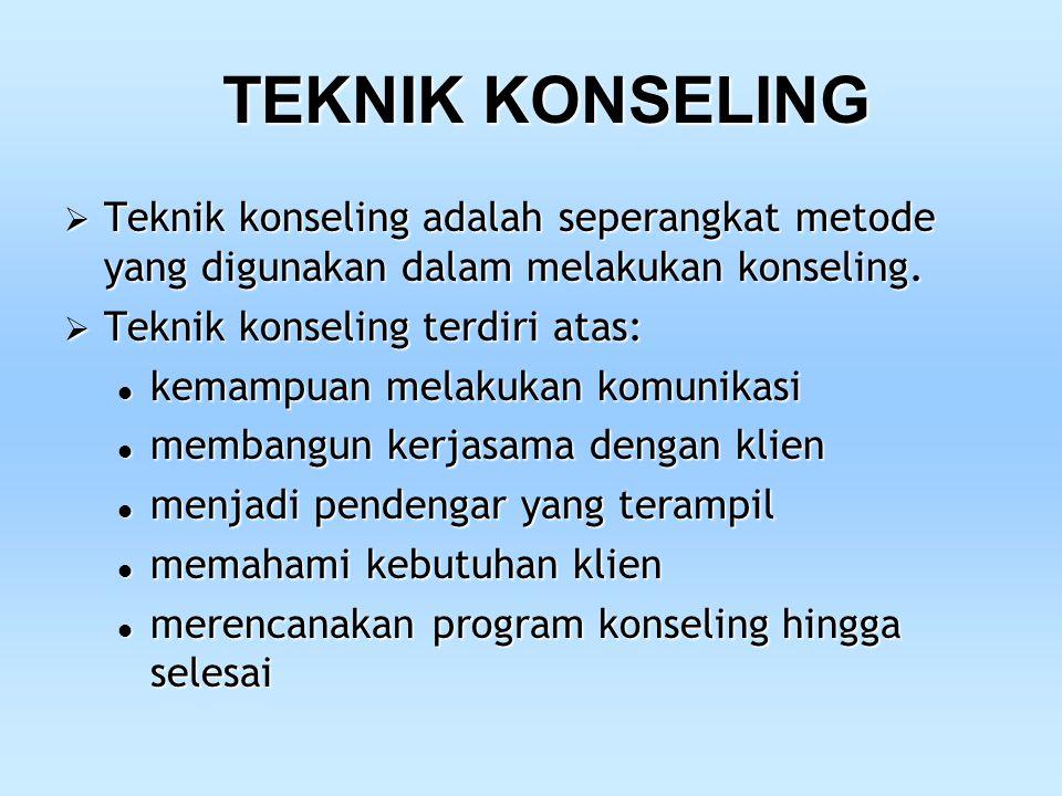 TEKNIK KONSELING Teknik konseling adalah seperangkat metode yang digunakan dalam melakukan konseling.