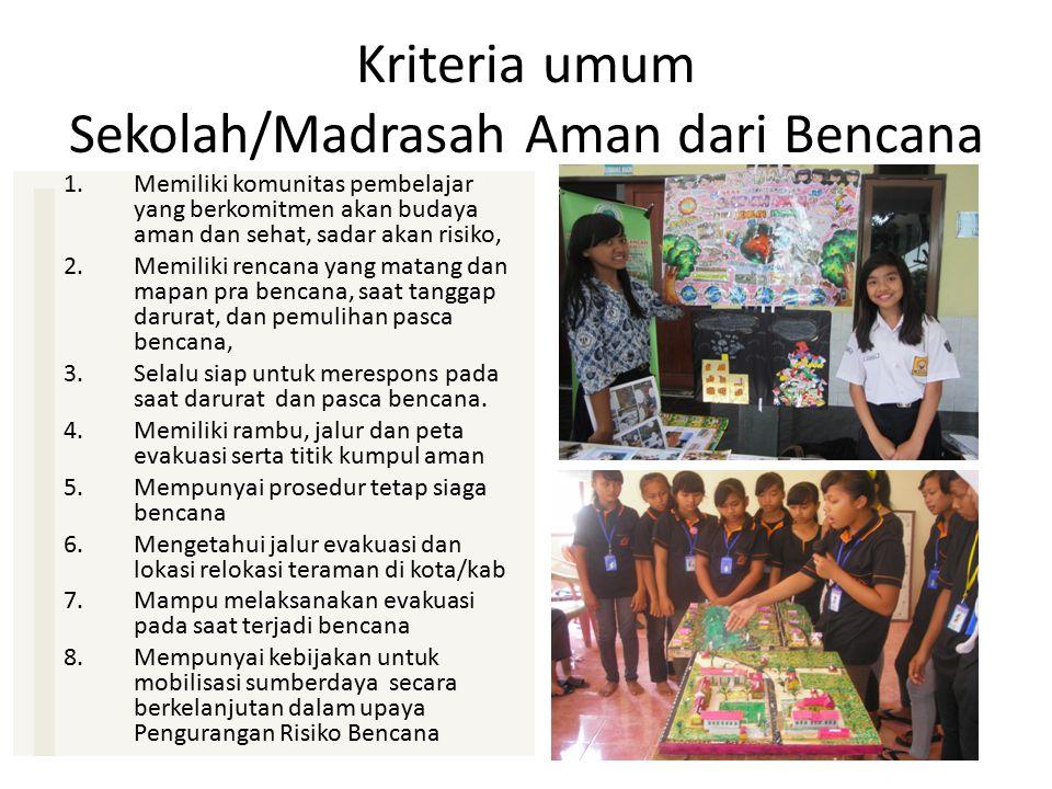 Kriteria umum Sekolah/Madrasah Aman dari Bencana
