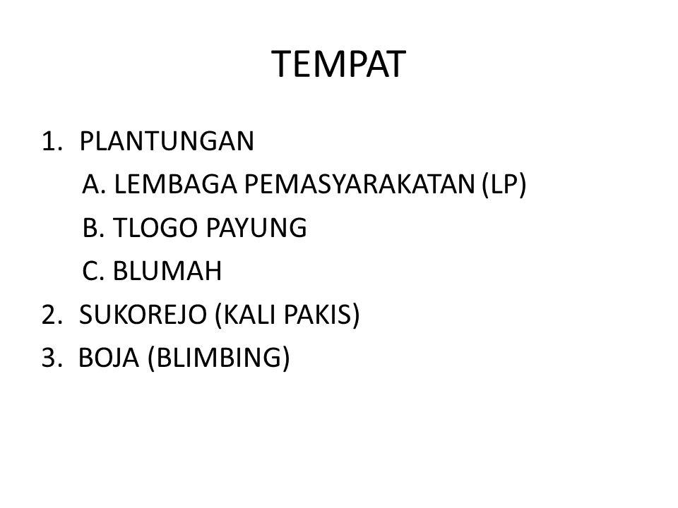 TEMPAT PLANTUNGAN A. LEMBAGA PEMASYARAKATAN (LP) B. TLOGO PAYUNG