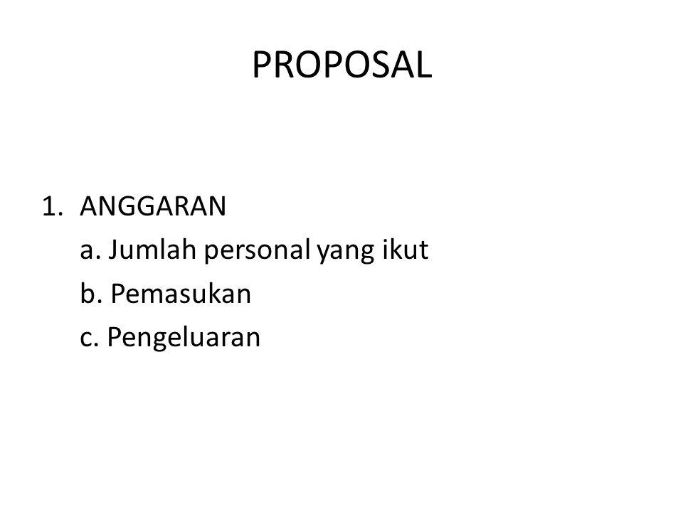 PROPOSAL ANGGARAN a. Jumlah personal yang ikut b. Pemasukan