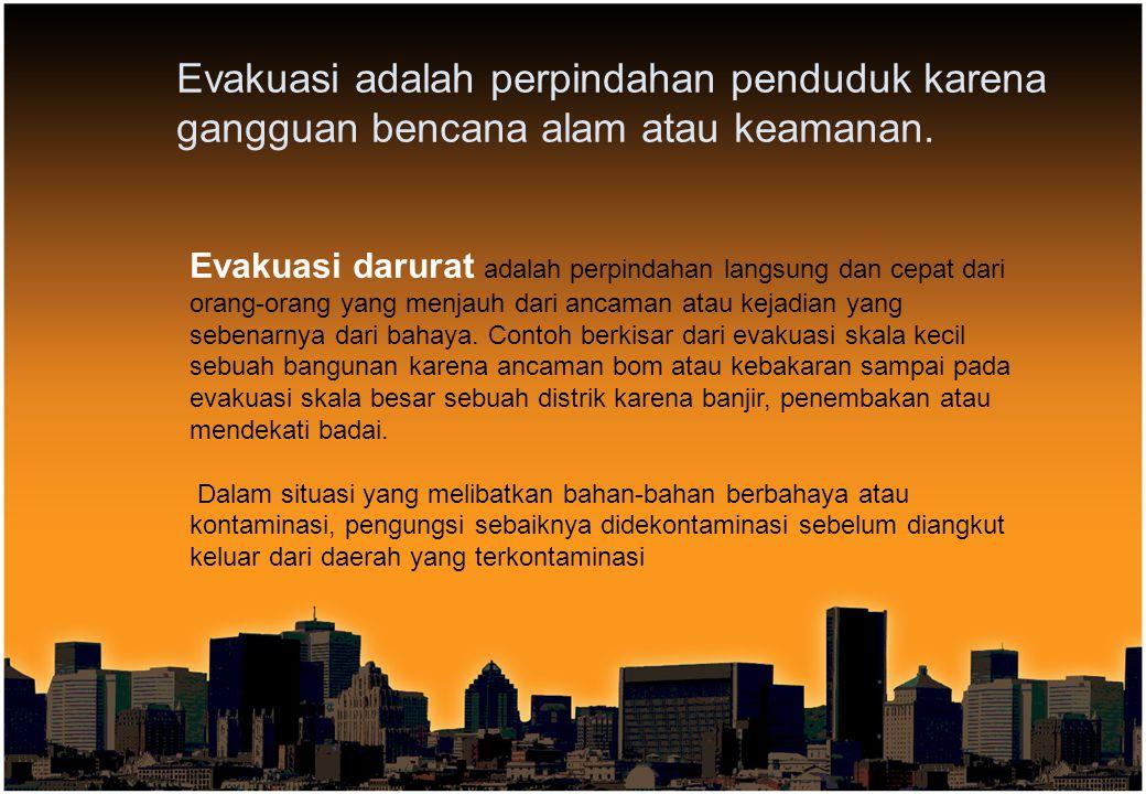 Evakuasi adalah perpindahan penduduk karena gangguan bencana alam atau keamanan.
