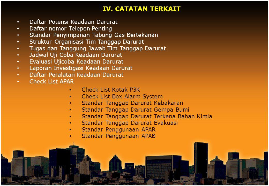 IV. CATATAN TERKAIT Daftar Potensi Keadaan Darurat