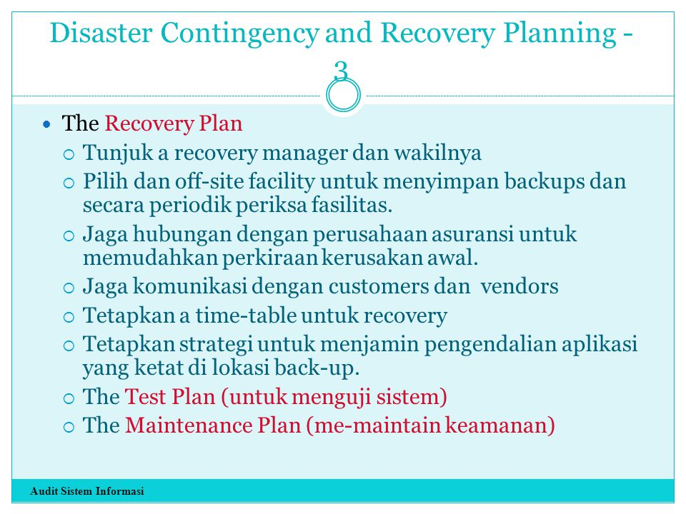 Disaster Contingency and Recovery Planning - 3